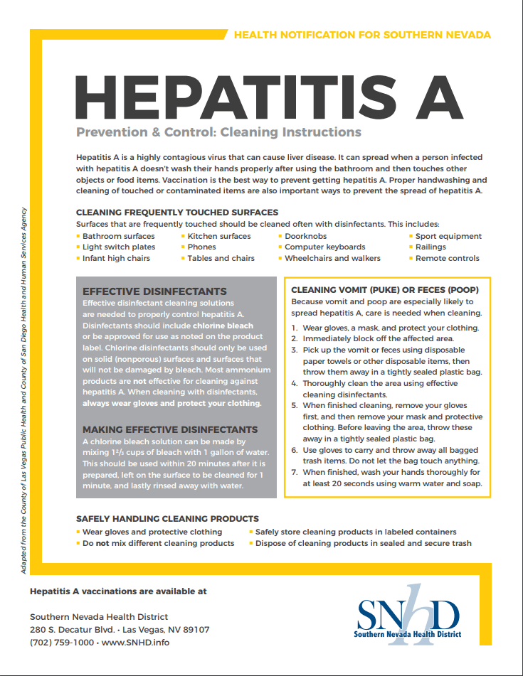 Hepatitis A Cleaning Instructions