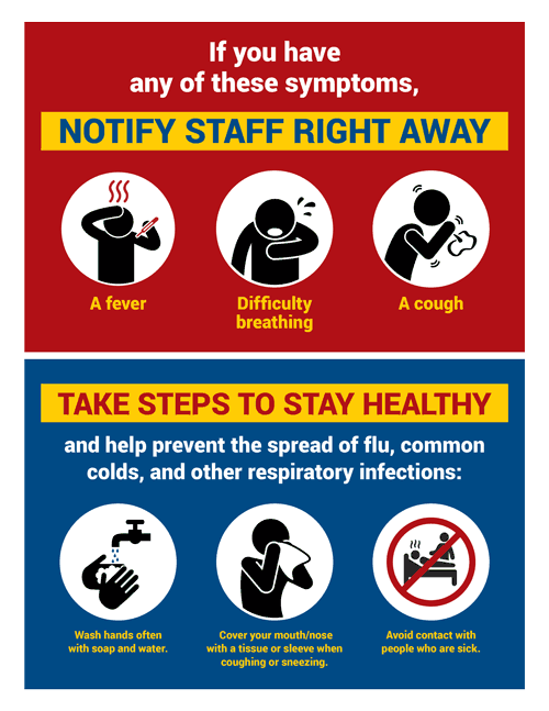 Novel Coronavirus Notify Staff and Stay Healthy Sign